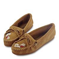 MINNETONKA X MOKO 限量款羽毛串珠麂皮莫卡辛平底鞋-褐色