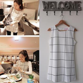 BubbleCoCo 韓國氣質方格兩件式洋裝(內搭上衣+方格背心裙) DS53