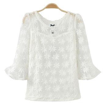 Bubble-CoCo 花朵刺繡歐根紗七分袖上衣EA48