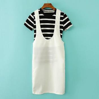Bubble❤CoCo 兩件式直筒吊帶裙(T恤+背心裙)