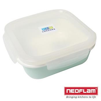 正方型陶瓷保鮮盒300ml-淡綠色