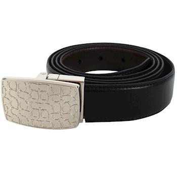 COACH 素面針扣式雙面用皮帶(附盒)(黑/咖)