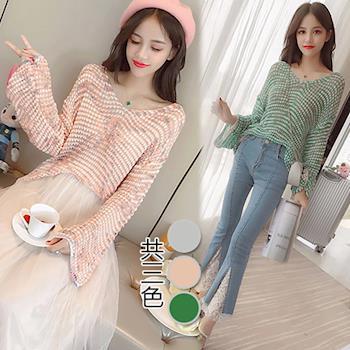 韓國K.W. F韓系甜美風寬鬆毛衣罩衫