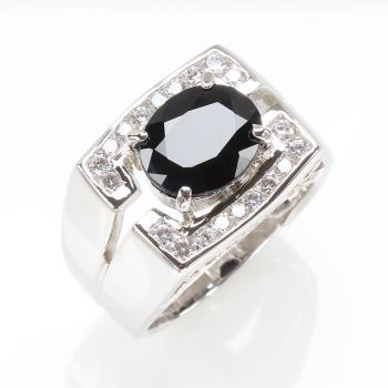 【寶石方塊】王者榮耀天然5克拉黑藍寶石戒指-活圍設計
