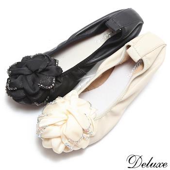 【Deluxe】全真皮波浪山茶花水鑽柔軟平底娃娃鞋(黑-米)