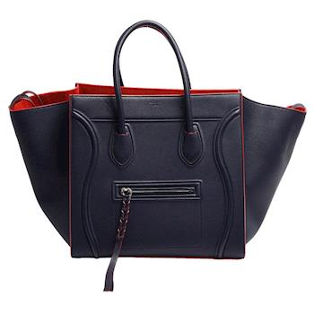 CELINE Medium Luggage荔枝紋小牛皮微笑冏臉包(海軍藍X紅)