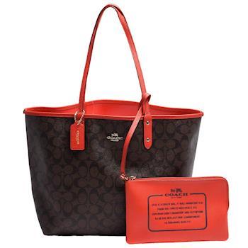 COACH 經典品牌金屬浮雕LOGO防水皮革CC印花手提/肩背子母包(棕X亮紅)