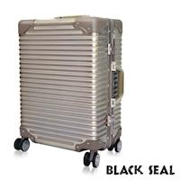 BLACK SEAL  專利霧面横條紋系列 25吋防刮耐撞鋁框旅行箱/行李箱  -沙灘金