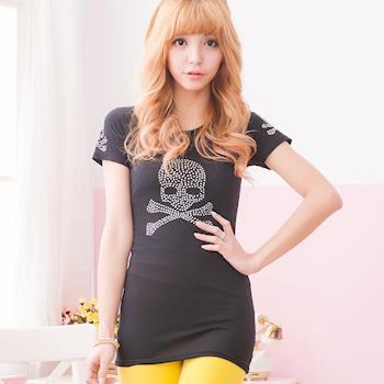 【lingling】小尺碼-鑽點骷髏長版T恤(長版黑)A1552-01