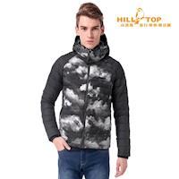 【hilltop山頂鳥】男款超撥水蓄熱羽絨外套F22MW1黑白雲彩印花