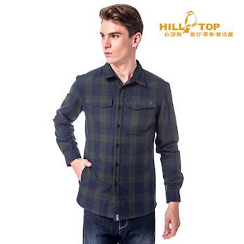 hilltop山頂鳥 男款吸濕科技保暖棉長襯衫-綠/深藍格子