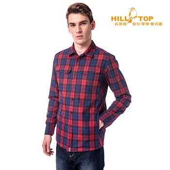 hilltop山頂鳥 男款吸濕科技保暖棉長襯衫/暗紅/藍格子