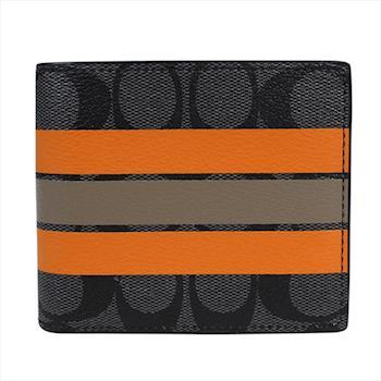 COACH PVC 雙折中性皮夾 (附活動名片證件夾) 黑灰色-線條造型