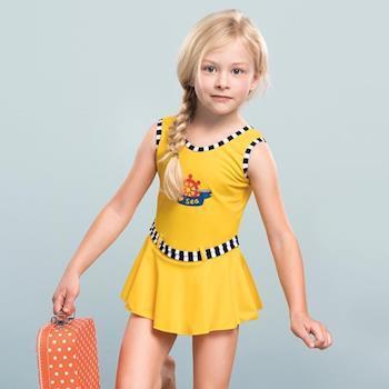 AMANDA艾曼達 女童泳裝 連身裙-活麗黃-17801附帽