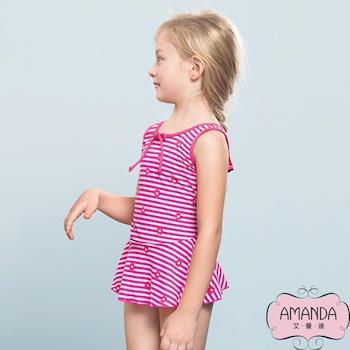 AMANDA艾曼達 女童泳裝 連身裙-花粉條-5803附帽
