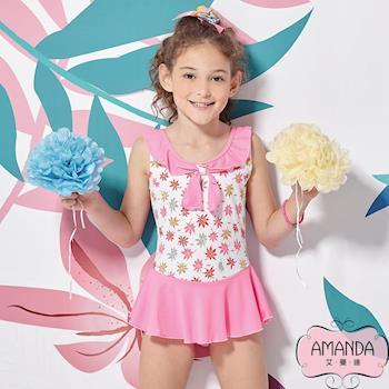 AMANDA艾曼達 女童泳裝 連身裙-粉甜姐-4802附帽