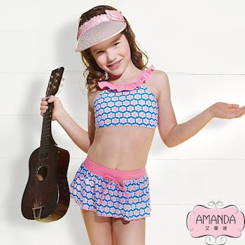 AMANDA艾曼達 女童泳裝 二截-藍寶兒-3804附帽