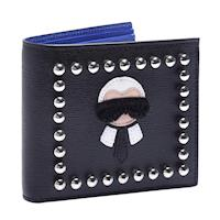FENDI  KARLITO系列鉚釘造型撞色防刮小牛皮摺疊八卡短夾(黑X寶藍)