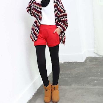 BubbleCoCo 冬款保暖內刷絨短褲造型假兩件九分褲 LB83