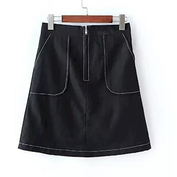 Bubble❤CoCo 黑白純色拉鍊大口袋A字短裙EA366