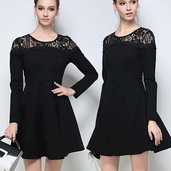 麗質達人中大碼 - PM2650黑色蕾絲長袖洋裝 M-5XL