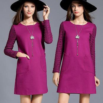 麗質達人中大碼 - PM2627紫紅色蕾絲假二件式洋裝 M-5XL