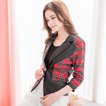 【lingling】小尺碼-日系格紋拼接皮質西裝小外套(英倫紅黑)A2306-02