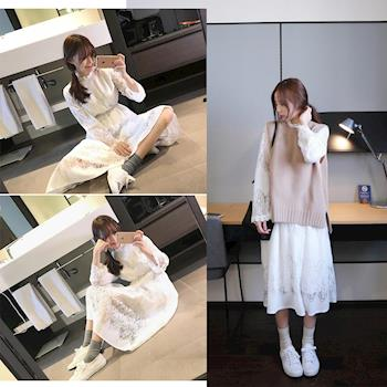 BubbleCoCo 韓版蕾絲裙+針織毛衣兩件式洋裝2色四碼 ST24