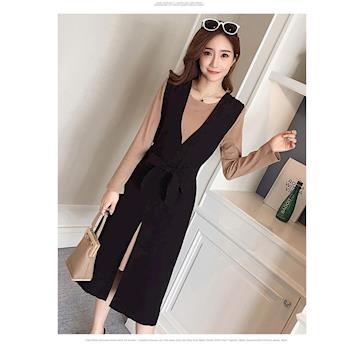 BubbleCoCo 韓版時尚兩件式開叉連衣裙2色四碼 ST22