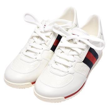GUCCI 經典Guccissima GG壓紋牛皮藍紅藍織帶休閒鞋(白-35.5)