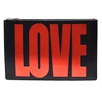 GIVENCHY 【LOVE】燙金字樣品牌子字母烙印小牛皮手拿包(黑色)
