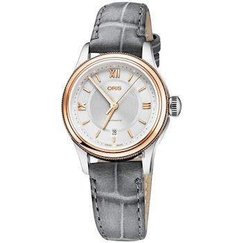 Oris豪利時 Classic Date 都會時尚機械女錶 銀x玫塊金框 28.5mm 0156177184371-0751433