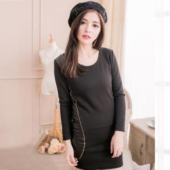 【lingling】全尺碼-接皮棉內刷絨毛小洋裝(俐落黑)A2007