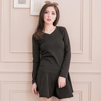 【lingling】小尺碼-波浪圓裙內刷絨毛洋裝(實搭黑)A2002-03