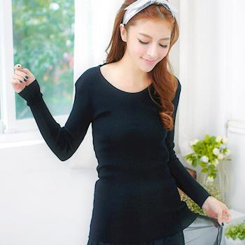 【lingling】全尺碼-圓領坑條針織長上衣(極簡黑)A1846-02