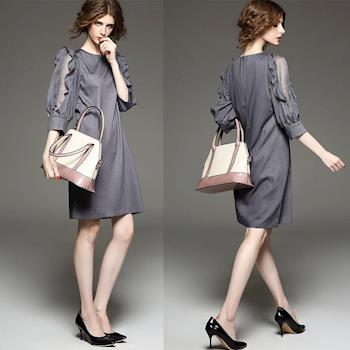 BubbleCoCo 歐美時尚簍空荷葉袖七分袖洋裝五碼 EA495