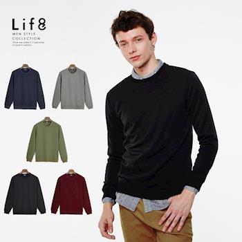 Life8-Casual 柔棉刷毛 輕量長絨毛圓領上衣-03942
