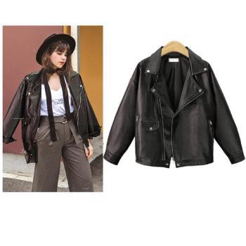 (現貨+預購 RN-girls)-【CHE9027】個性時尚風PU皮翻領款機車外套皮衣外套