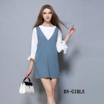 (現貨 RN-girls)-【CHB208】休閒風雪紡荷葉袖上衣+背心裙兩件式套裝