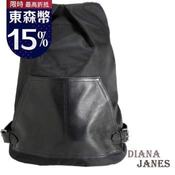 【Diana Janes 黛安娜】韓版輕盈尼龍配皮防盜斜開口後背包