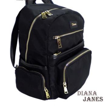【Diana Janes 黛安娜】韓版輕量中性尼龍配皮功能後背包