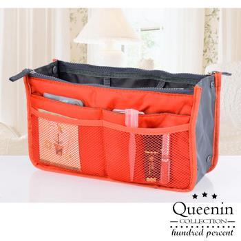 DF Queenin - 韓版手提式雙拉鍊加厚收納包/多用包/媽媽包-共5色