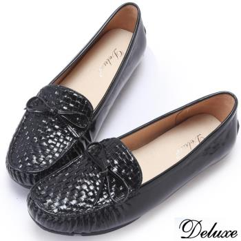 【Deluxe】全真漆皮編織蝴蝶平底鞋(黑)
