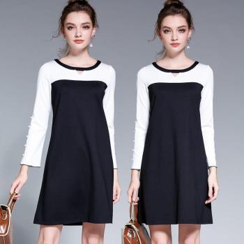 麗質達人中大碼 - HN5068黑白拼色假二件洋裝 L-5XL