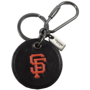 COACH 66094 MLB美國職棒大聯盟聯名造型雙扣鑰匙圈.黑橘