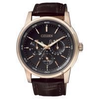 CITIZEN 星辰 光動能日曆手錶 玫瑰金框x咖啡 44mm BU2013~08E