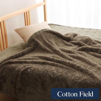 棉花田 羊羔絨 超細纖維超柔暖隨意毯-灰葉色
