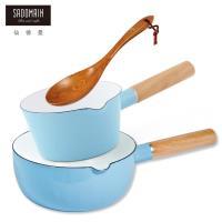仙德曼 SADOMAIN  琺瑯牛奶鍋+琺瑯雪平鍋+原木手工菜匙 三件組