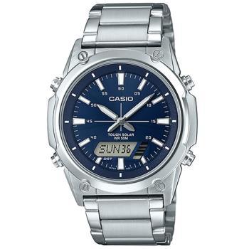 【CASIO 】點陣圖太陽能不鏽鋼雙顯錶-藍面 (AMW-S820D-2A)