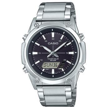 【CASIO 】點陣圖太陽能不鏽鋼雙顯錶-黑面 (AMW-S820D-1A)